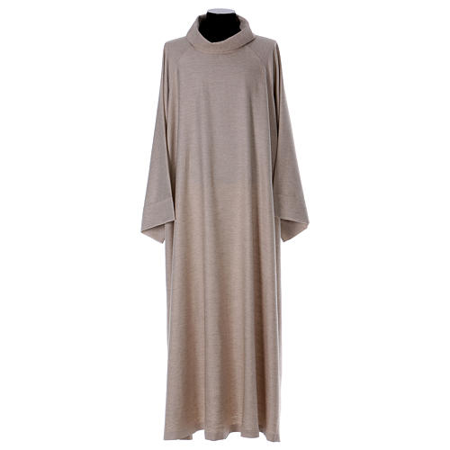 Catholic Alb in viscose with collar, flared cowl model 1