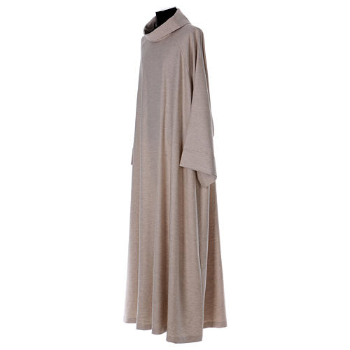 Catholic Alb in viscose with collar, flared cowl model 2