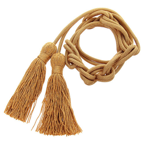 Gold rayon cincture with tassel 1