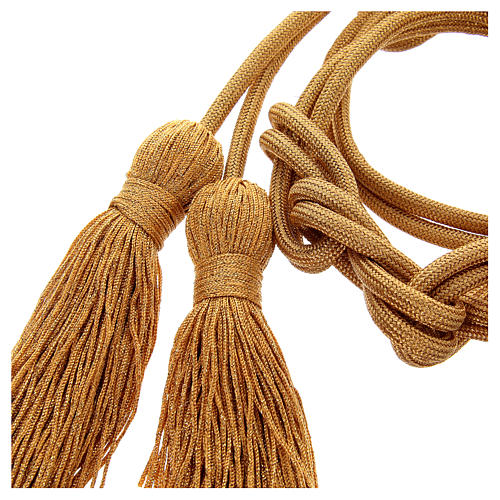 Gold rayon cincture with tassel 2