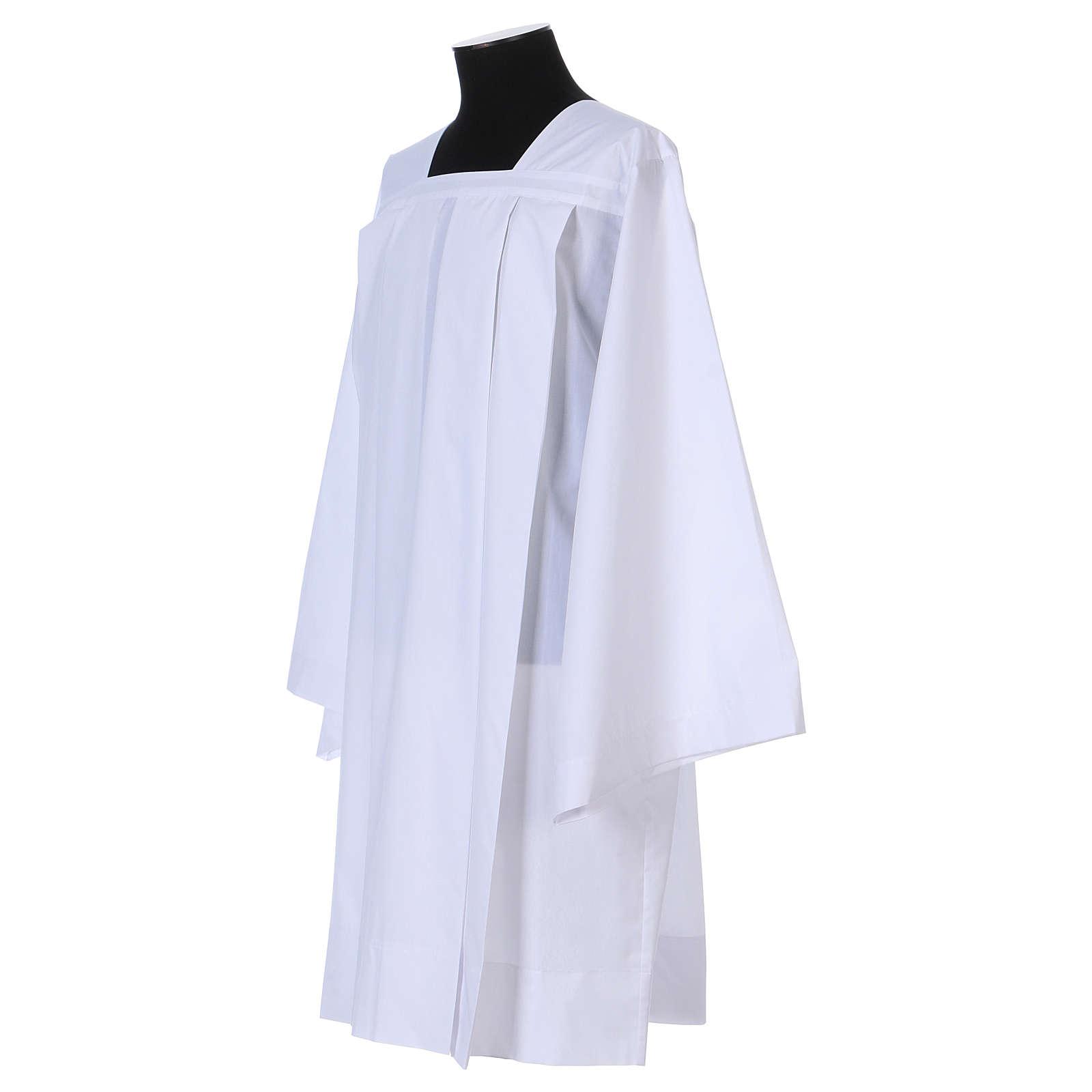Surplice 65% polyester 35% cotton, 4 pleats, white 4