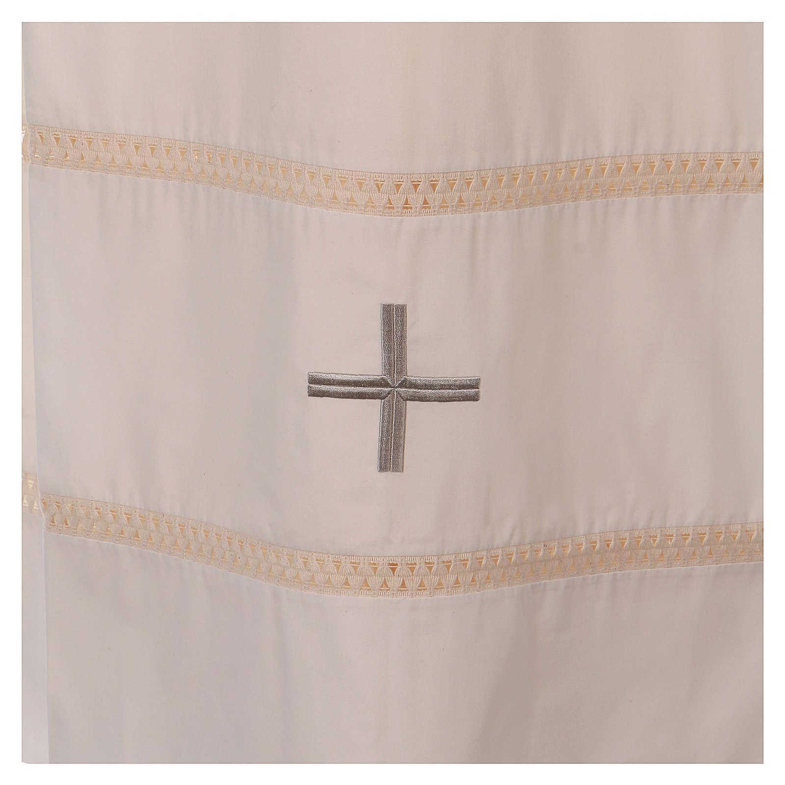 STOCK Aube ivoire avec croix et ourlet à jour 4