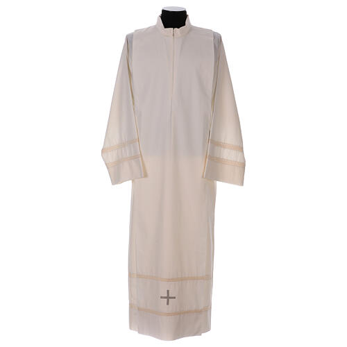 STOCK Ivory alb with cross and interlaced stitching 1