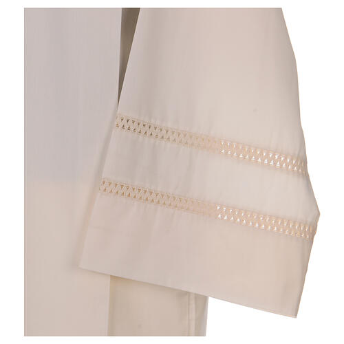STOCK Ivory alb with cross and interlaced stitching 3