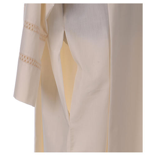 STOCK Ivory alb with cross and interlaced stitching 6