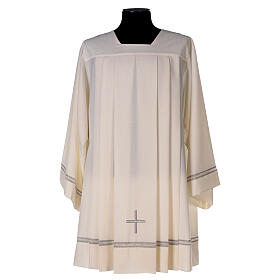 Ivory surplice, 55% polyester 45% wool with cross and gigliuccio hemstitch s1