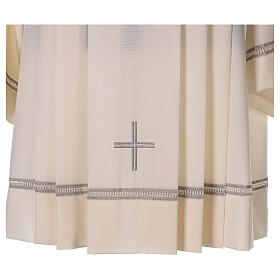 Ivory surplice, 55% polyester 45% wool with cross and gigliuccio hemstitch s2