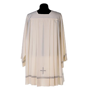 Ivory surplice, 55% polyester 45% wool with cross and gigliuccio hemstitch s4