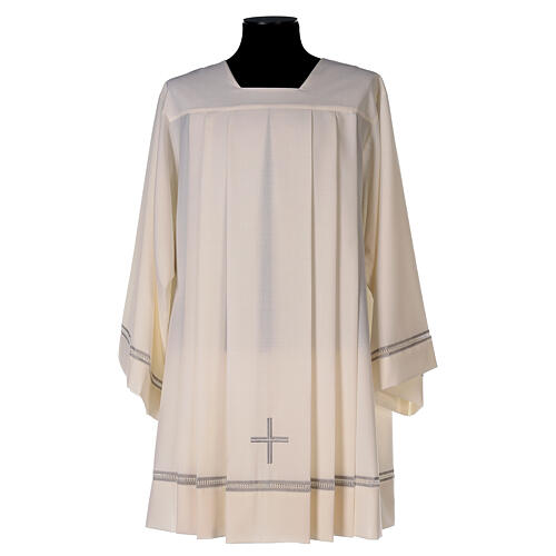 Ivory surplice, 55% polyester 45% wool with cross and gigliuccio hemstitch 1
