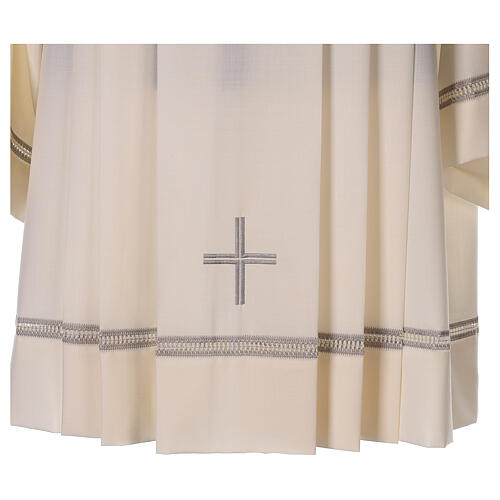 Ivory surplice, 55% polyester 45% wool with cross and gigliuccio hemstitch 2