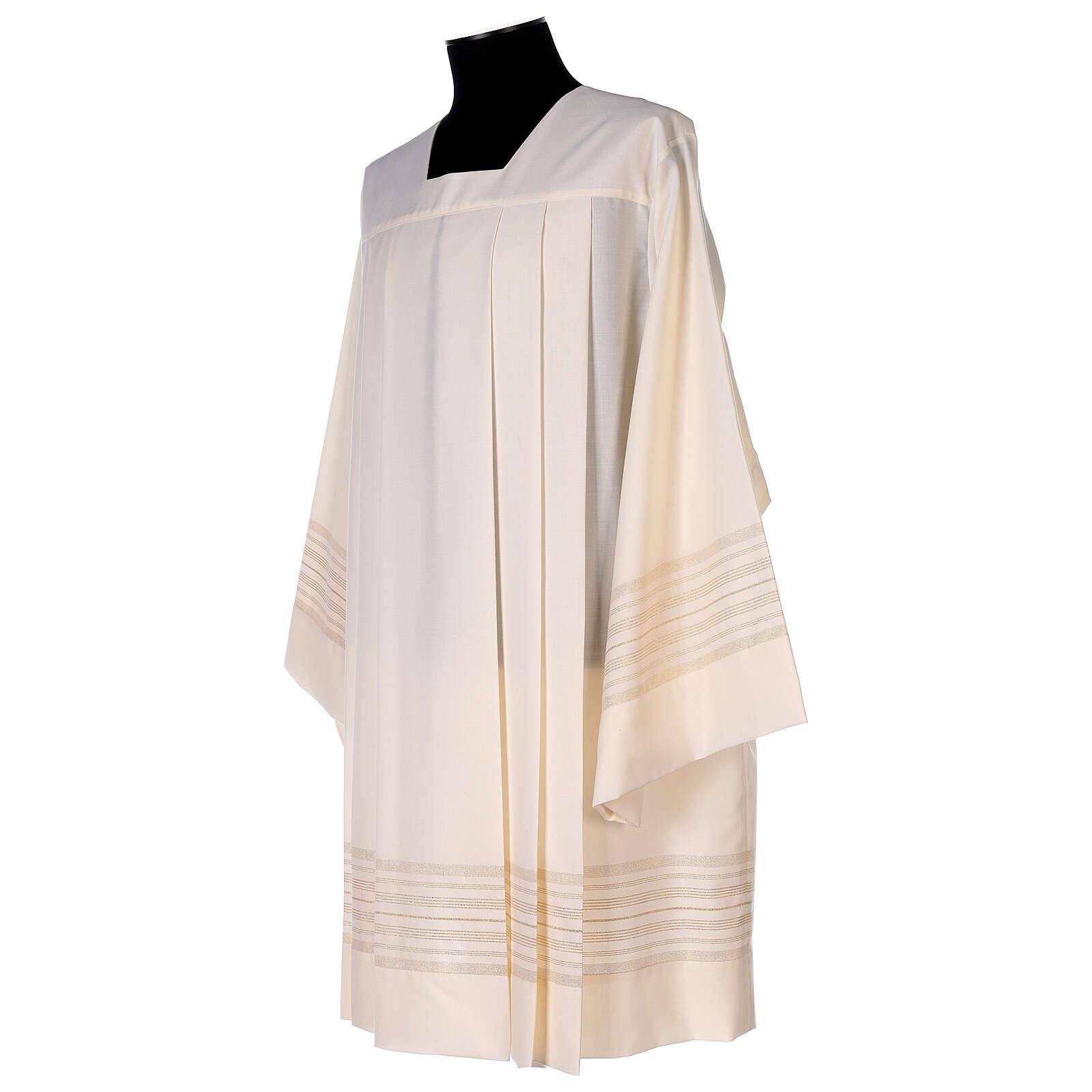 Surplis couleur ivoire 55% polyester 45% laine décorations dorées 4