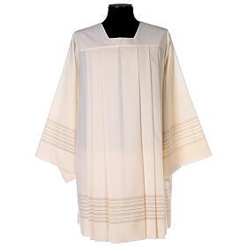 Surplis couleur ivoire 55% polyester 45% laine décorations dorées s1