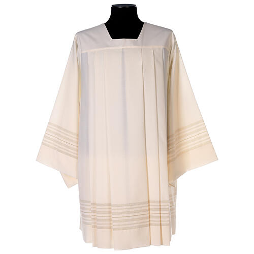 Ivory surplice with golden decorations, 55% polyester 45% wool 1