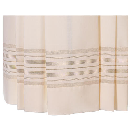 Ivory surplice with golden decorations, 55% polyester 45% wool 2