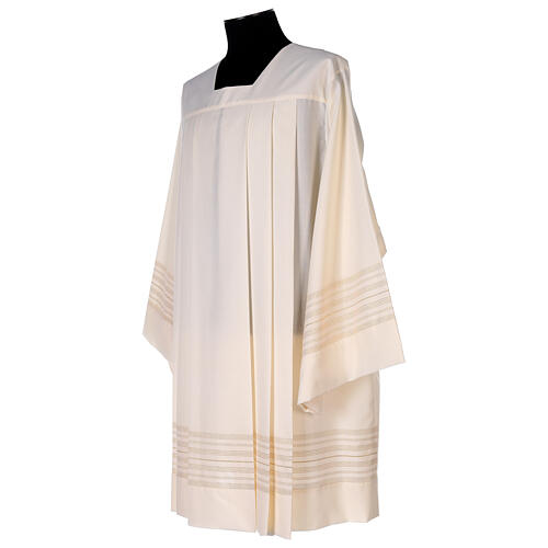 Ivory surplice with golden decorations, 55% polyester 45% wool 3