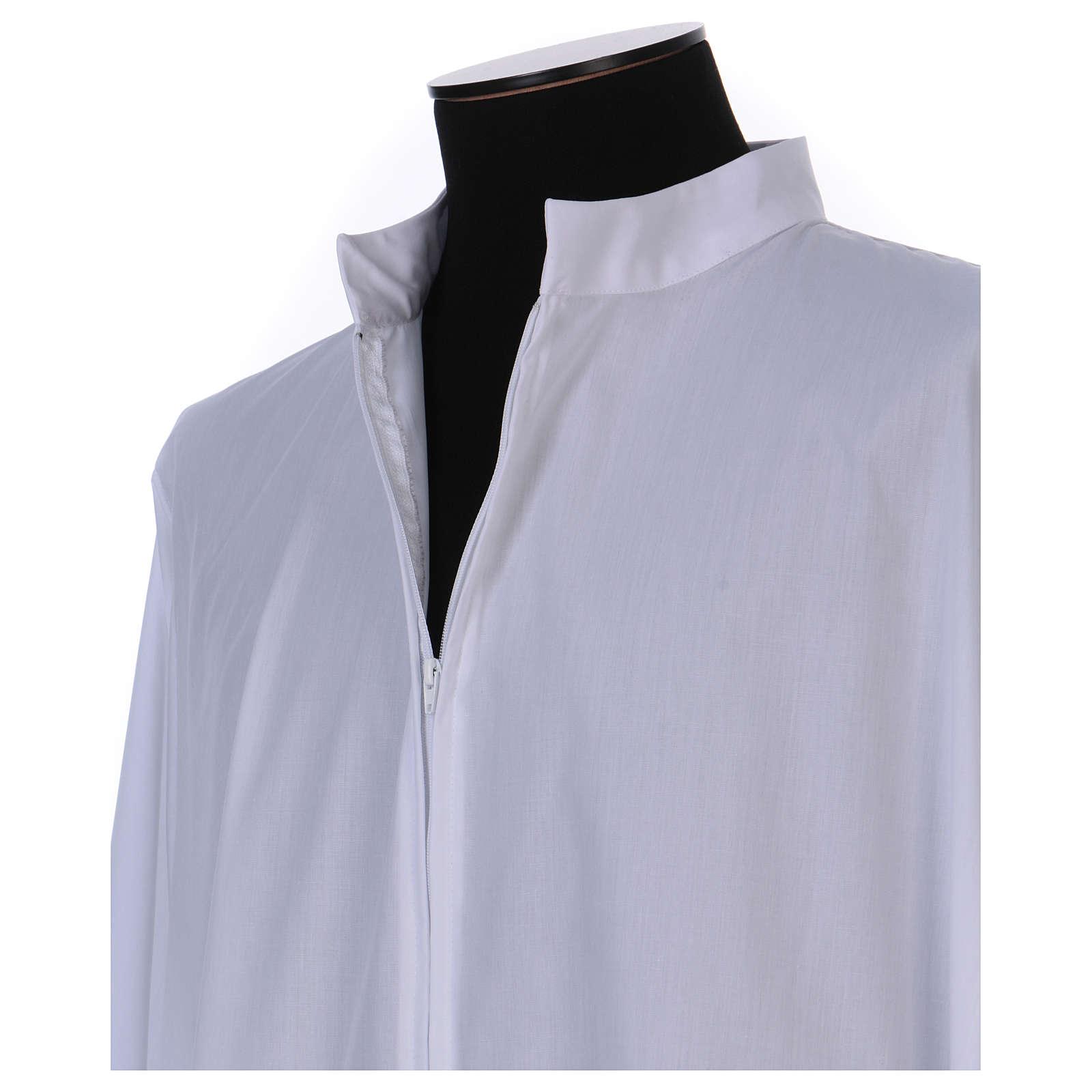 Camice bianco 65% poliestere 35% cotone cerniera davanti 4