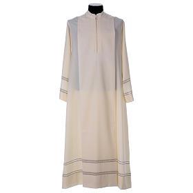 Albas litúrgicas: Alba marfil 55% lana, 45% poliéster cremallera delante