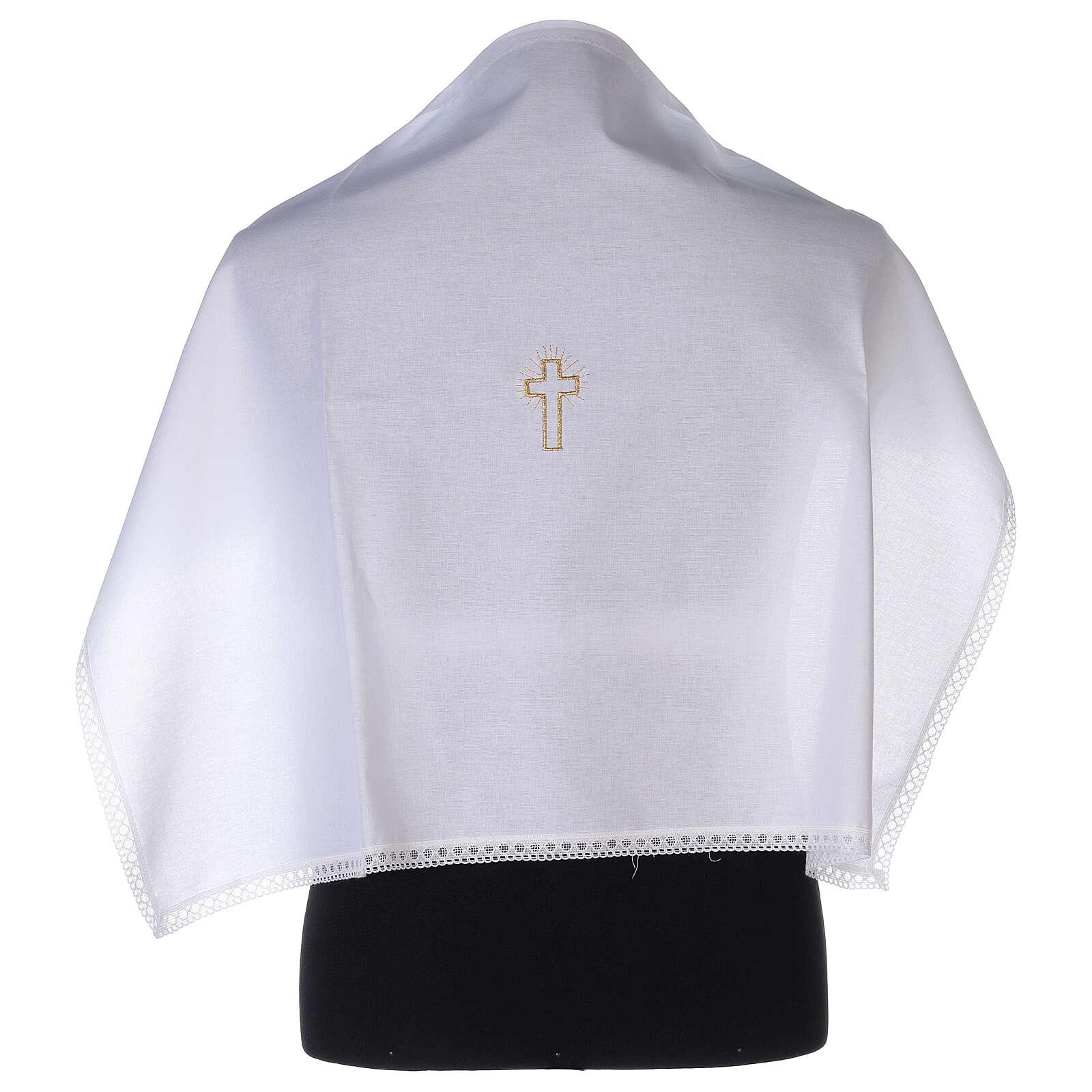 Amito de algodón con cruz dorada bordada 4