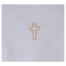 Amito de algodón con cruz dorada bordada s2