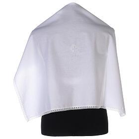 Amito de algodón con cruz blanca bordada s1