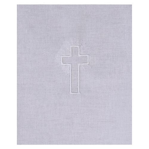 Amito de algodón con cruz blanca bordada 2