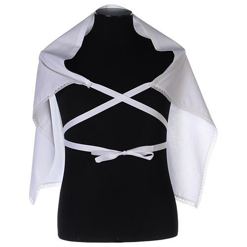 Amito de algodón con cruz blanca bordada 3