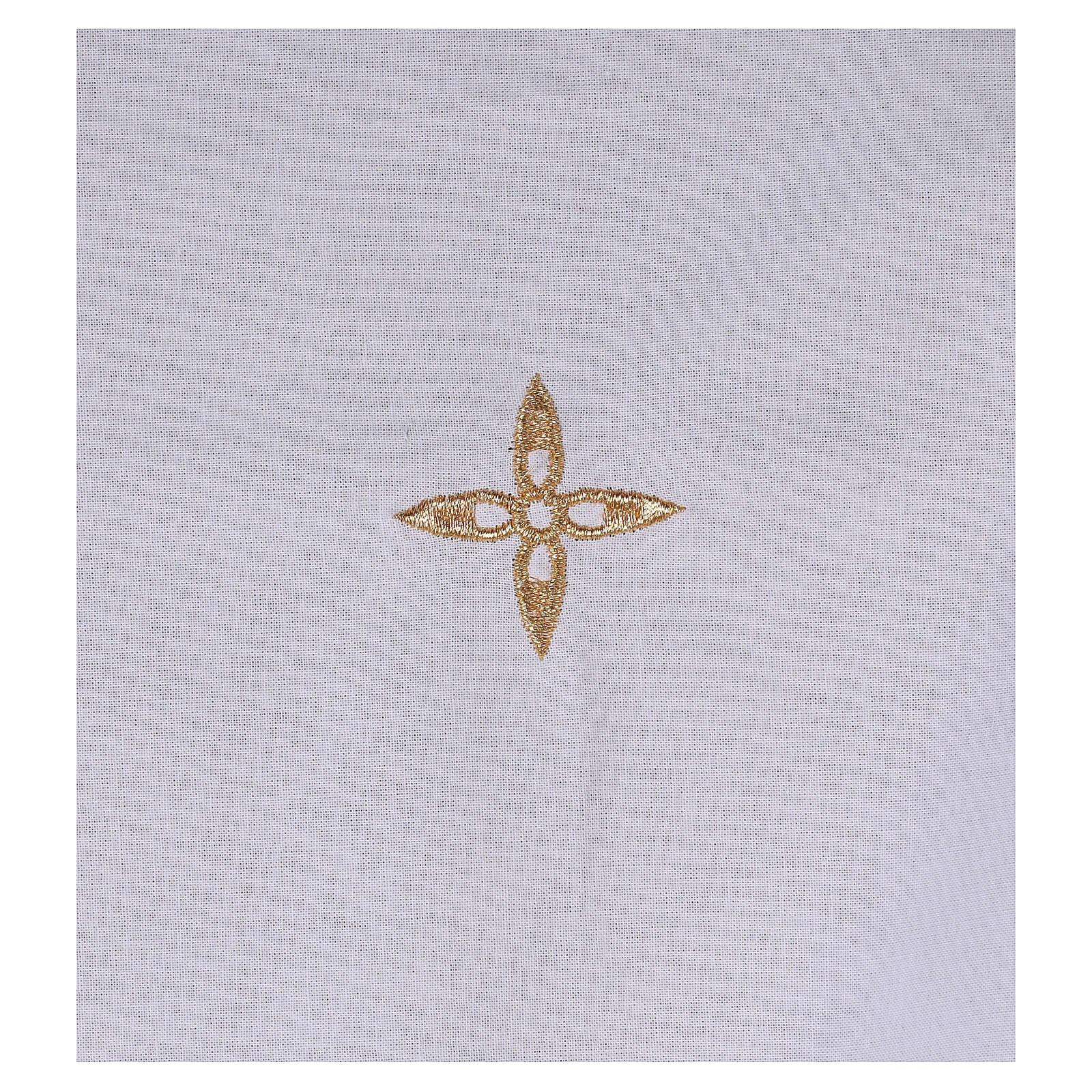 Amice in cotton with golden embroidered flower cross 4