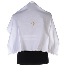 Amice in cotton with golden embroidered flower cross s1