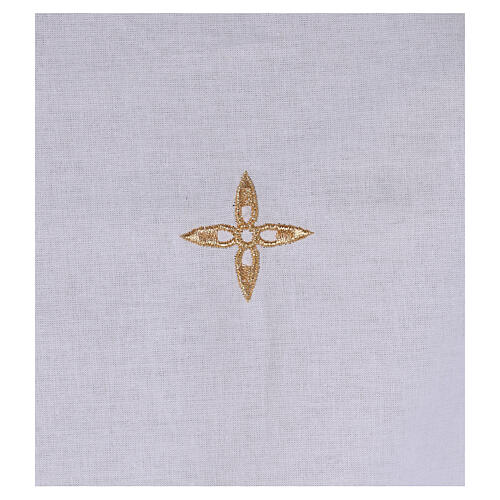 Amice in cotton with golden embroidered flower cross 2
