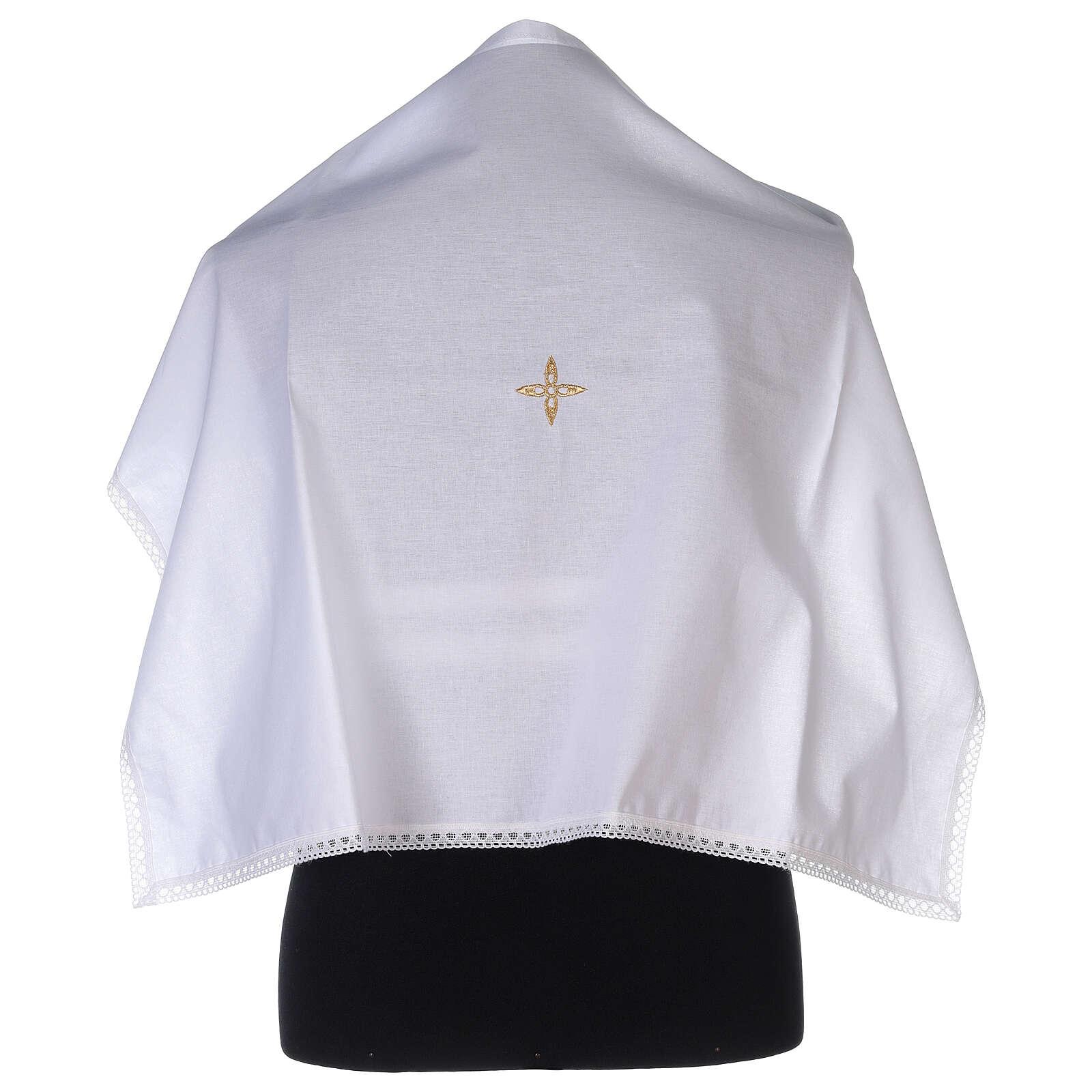Amict en coton avec croix en fleur dorée brodée 4