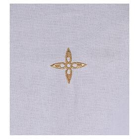 Amict en coton avec croix en fleur dorée brodée s2