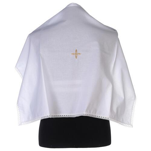 Amict en coton avec croix en fleur dorée brodée 1