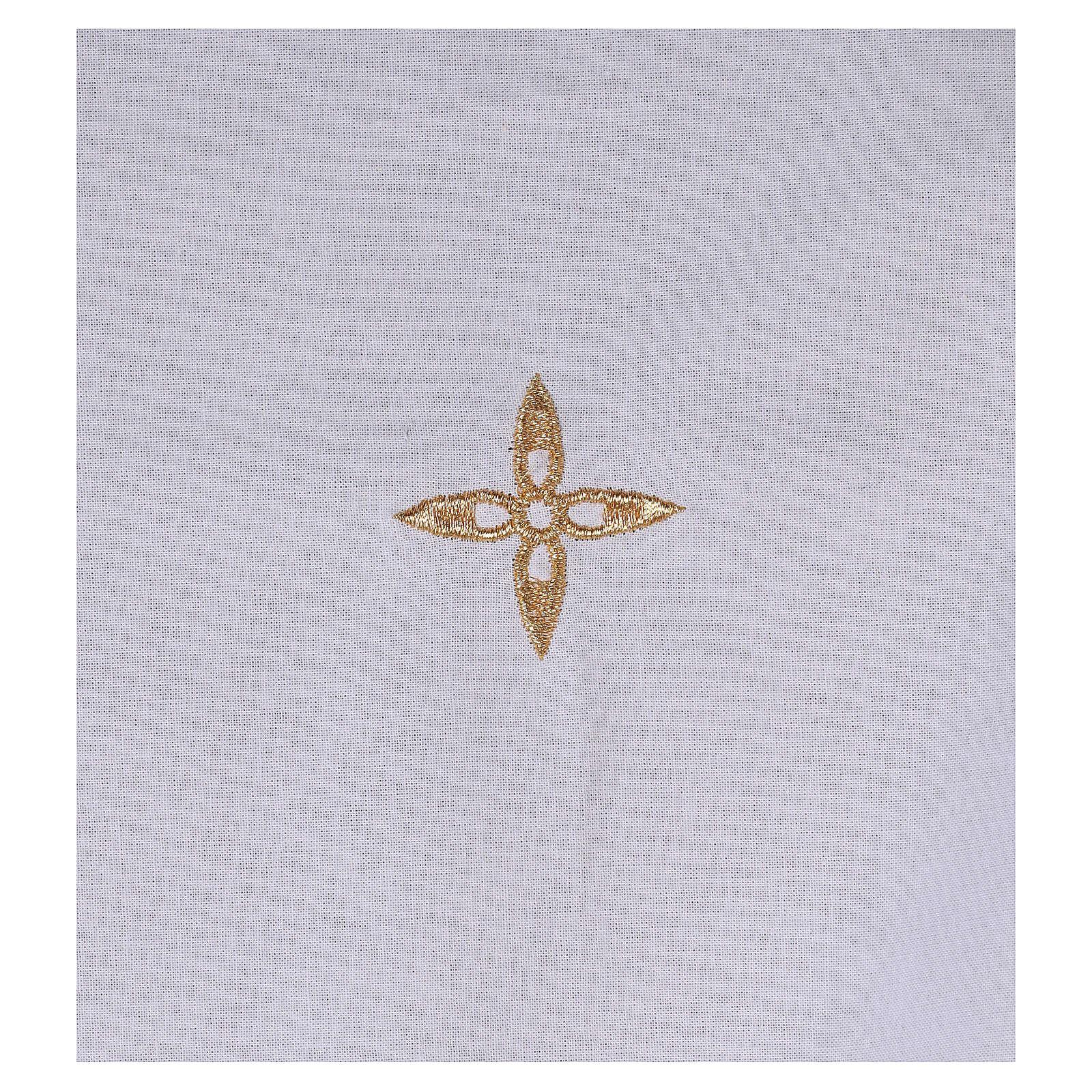Amitto in cotone con croce a fiore dorata ricamata 4