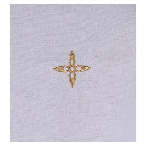 Amitto in cotone con croce a fiore dorata ricamata 2