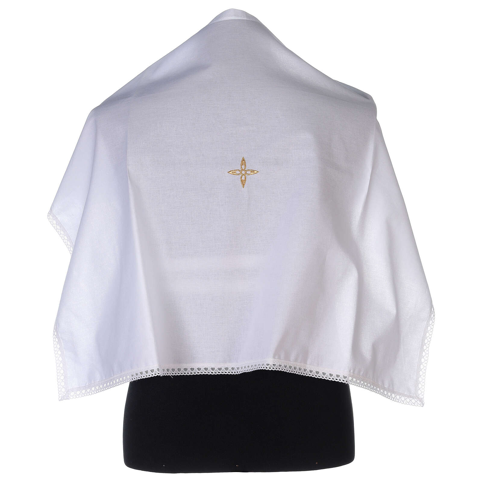 Cotton amice with embroidered gold flower shaped cross 4