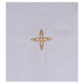 Cotton amice with embroidered gold flower shaped cross s2