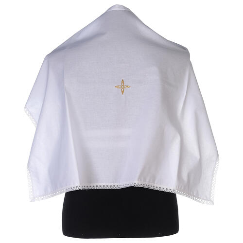 Cotton amice with embroidered gold flower shaped cross 1