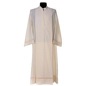 Aube 55% laine 45% polyester couleur ivoire ourlet à jour brodé main et fermeture éclair avant s1