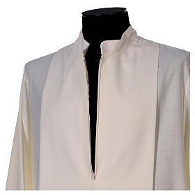 Aube 55% laine 45% polyester couleur ivoire ourlet à jour brodé main et fermeture éclair avant s5