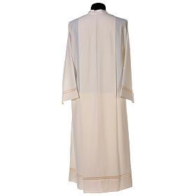 Aube 55% laine 45% polyester couleur ivoire ourlet à jour brodé main et fermeture éclair avant s6
