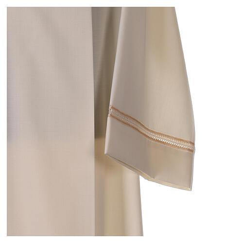 Aube 55% laine 45% polyester couleur ivoire ourlet à jour brodé main et fermeture éclair avant 2
