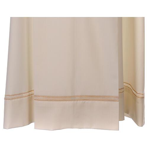 Aube 55% laine 45% polyester couleur ivoire ourlet à jour brodé main et fermeture éclair avant 3