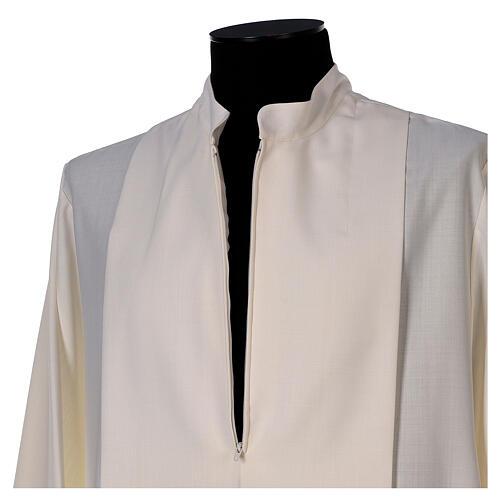 Aube 55% laine 45% polyester couleur ivoire ourlet à jour brodé main et fermeture éclair avant 5