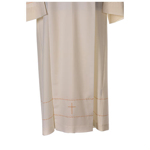 Ivory alb with golden decorations 55% wool 45% polyester 2