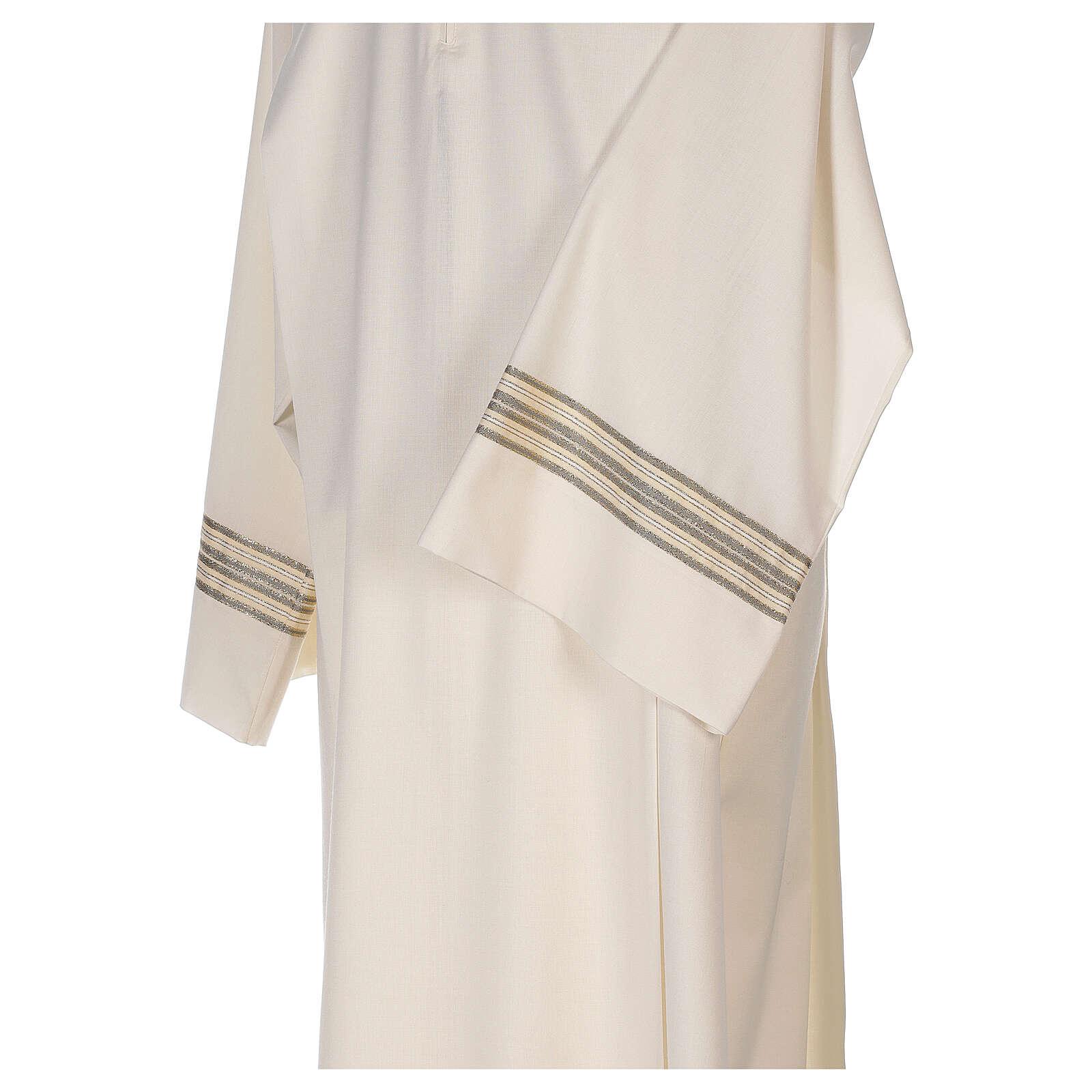 Alba 55% poliéster 45% lana rayas oro marfil 4