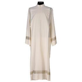 Alba 55% poliéster 45% lana rayas oro marfil s1