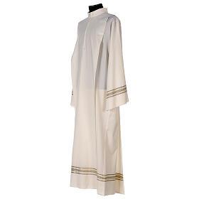 Alba 55% poliéster 45% lana rayas oro marfil s3