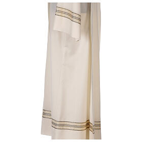 Alba 55% poliéster 45% lana rayas oro marfil s4