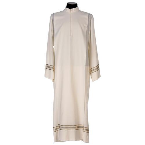 Alba 55% poliéster 45% lana rayas oro marfil 1