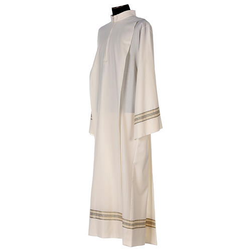 Alba 55% poliéster 45% lana rayas oro marfil 3